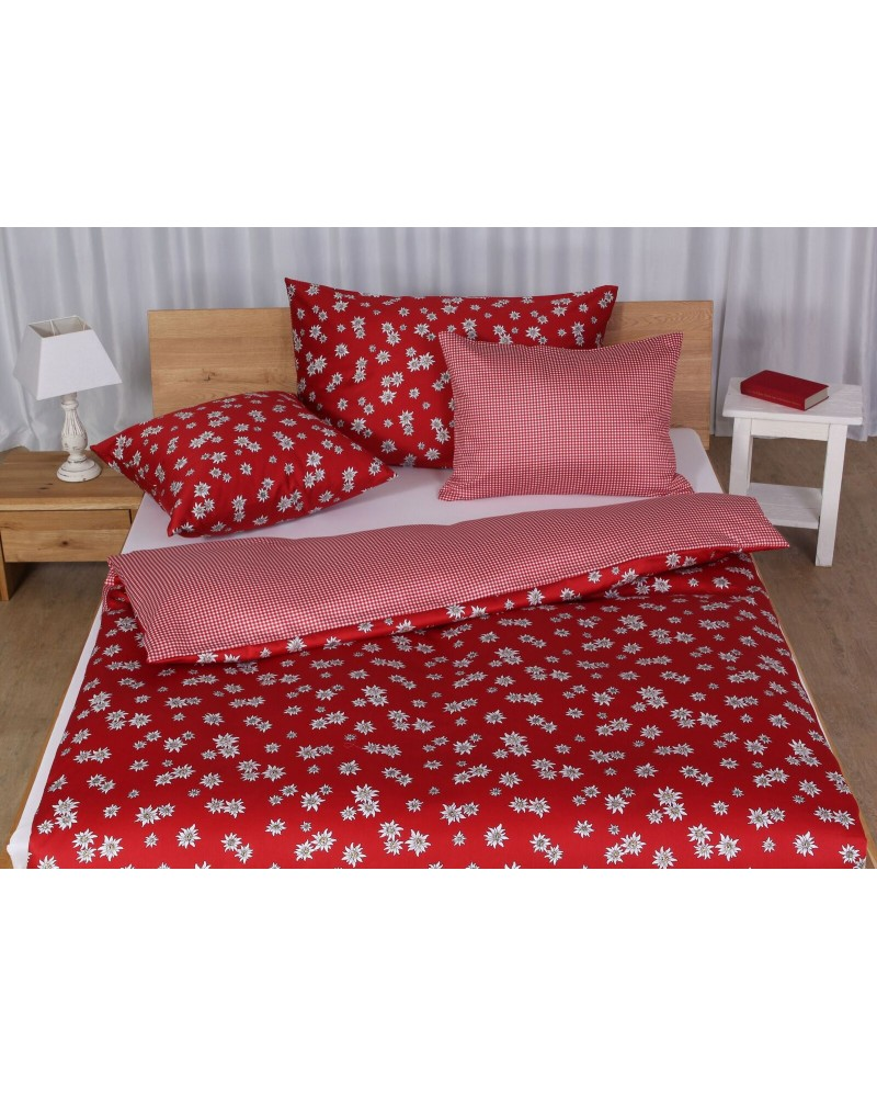 baumwoll satin bettw sche set edelweiss rot. Black Bedroom Furniture Sets. Home Design Ideas